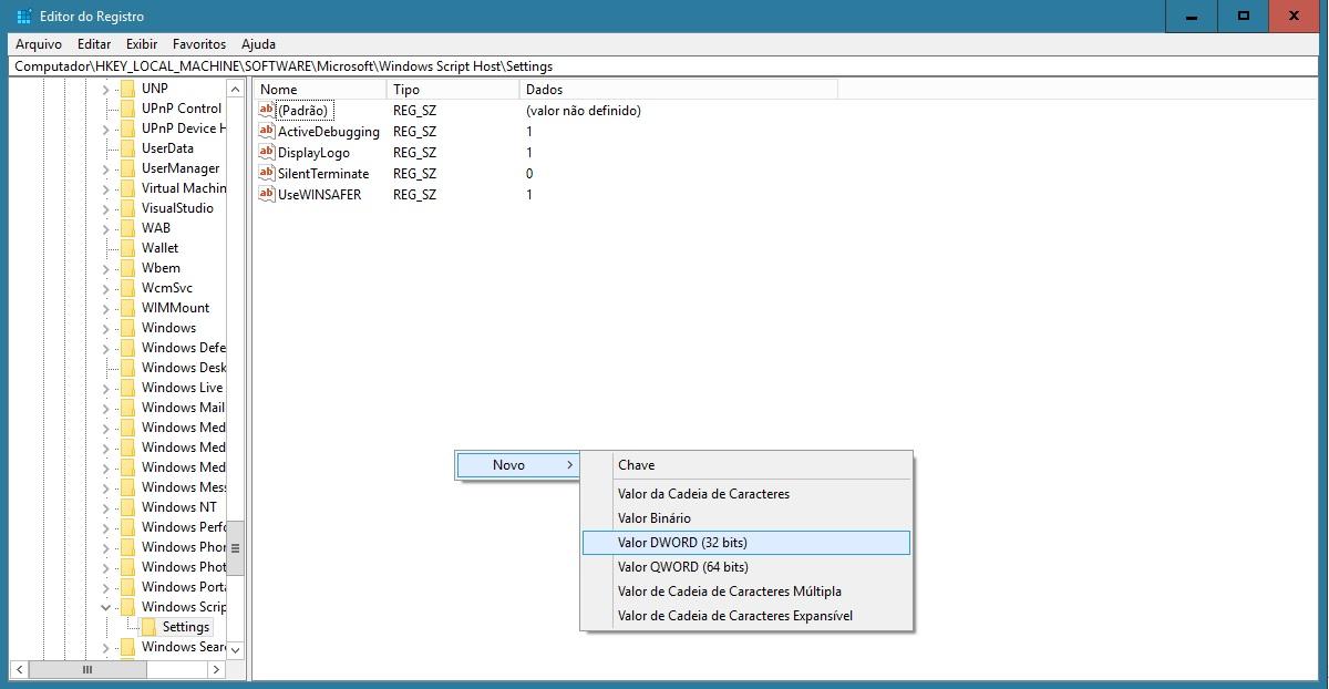 Como desativar o windows script host fastti hkeylocalmachinesoftwaremicrosoftwindows script hostsettings 3 clique com o boto direito no espao vazio da tela novo valor dword 32 bits ccuart Choice Image